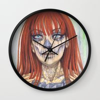 gemma correll Wall Clocks featuring Ginger Sugar Skull by Gemma Pallat by ToraSumi