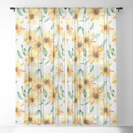 Mexican sunflowers - watercolor summery florals Sheer Curtain