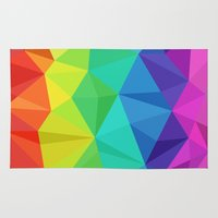 low poly Area & Throw Rugs featuring rainbow low poly by tony tudor