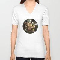 macarons V-neck T-shirts featuring Macarons (Ladurée) by Nick De Clercq