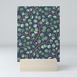 Simple Silver Dollar Eucalyptus Leaves on Navy Mini Art Print