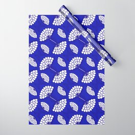 African Floral Motif on Royal Blue Wrapping Paper