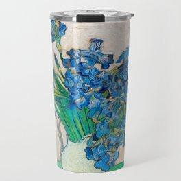 Irises by Vincent van Gogh Oil Painting Still Life Floral Arrangement In Vase Travel Mug