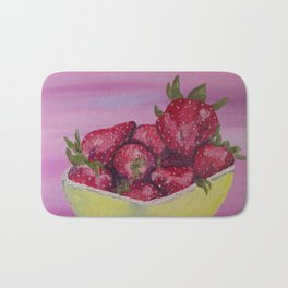Strawberries in a Yellow Bowl Bath Mat