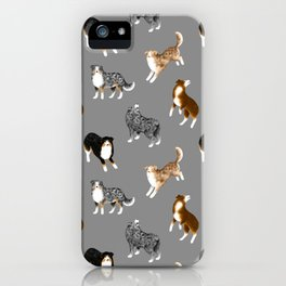 Australian Shepherd Pattern (Gray Background) iPhone Case