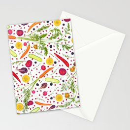 Fruits and vegetables pattern (21) Stationery Cards