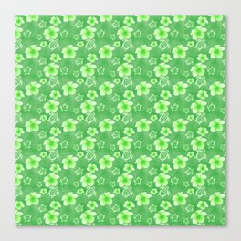Green Hibiscus Honu Hawaiian Pattern Canvas Print