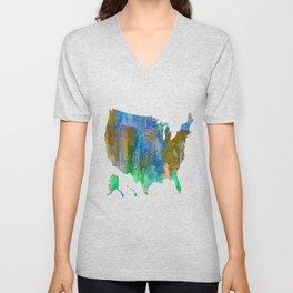Usa Colorful Map Unisex V-Neck