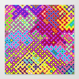 Abstract Psychedelic Pop Art Truchet Tile Pattern Canvas Print