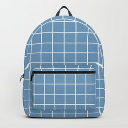 Air superiority blue - blue color - White Lines Grid Pattern Backpack