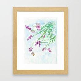 Botanic Lavender & Bee Illustration Framed Art Print