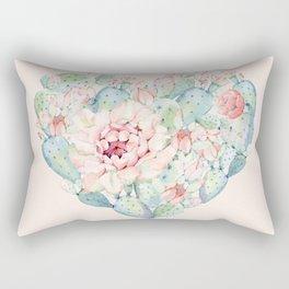 Cactus Rose Heart on Pink Rectangular Pillow