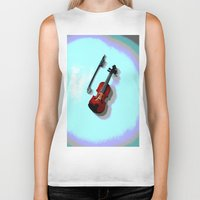 violin Biker Tanks featuring Violin by Vitta