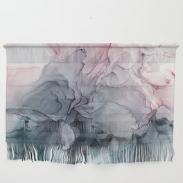 Blush and Payne's Grey Flowing Abstract Painting Wall Hanging