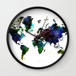 Dark World Map Illustration Wall Clock