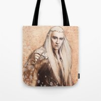thranduil Tote Bags featuring thranduil oropherion by LindaMarieAnson