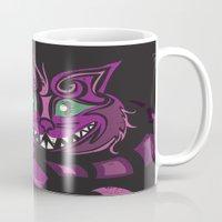 cheshire cat Mugs featuring Cheshire Cat by KaytiDesigns