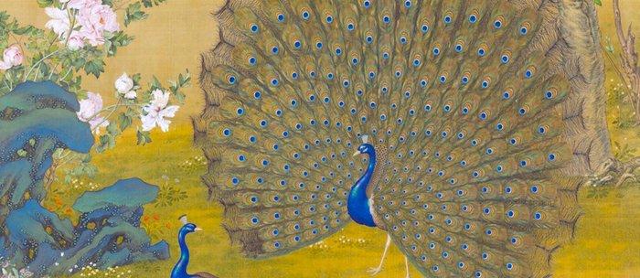 Peacock spreading its tail feathers - Lang Shining (Giuseppe Castiglione, 1688-1766 Coffee Mug