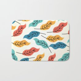 Colorful Autumn Leaves Illustration Bath Mat