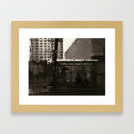 Rainy Stroll in Miami Framed Art Print