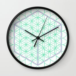 Sacred Geometry - glowing energy lines - cube and flowers Wall Clock