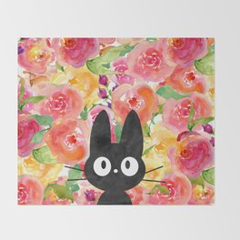 Jiji in Bloom Throw Blanket