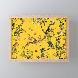 Monkey World Yellow Framed Mini Art Print
