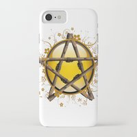 pentagram iPhone & iPod Cases featuring Flower Pentagram by The Painted Kat