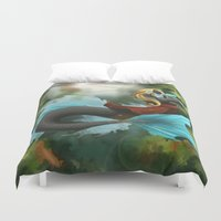sci fi Duvet Covers featuring Sci-Fi Mermaid by Chelles