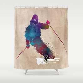 alpine skiing #ski #skiing #sport Shower Curtain