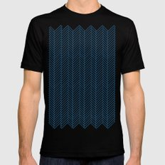 Herringbone Navy MEDIUM Black Mens Fitted Tee