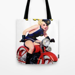 Retro Motorcycle Pinup Girl Tote Bag