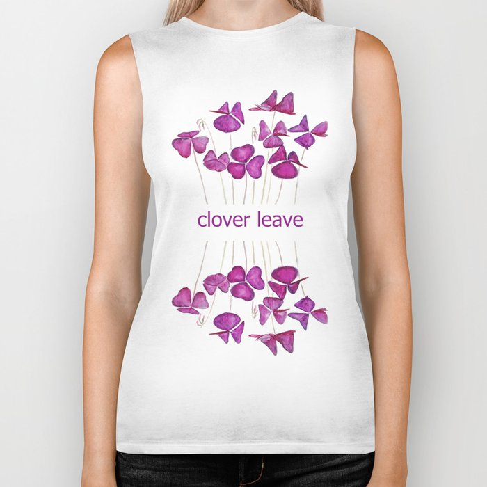 purple clover leaves Biker Tank