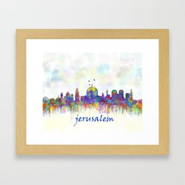 Jerusalem City Skyline in Watercolor Framed Art Print