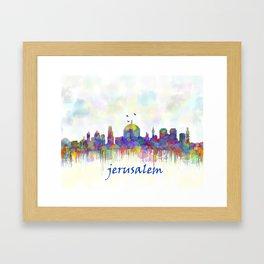 Jerusalem City Skyline in Watercolor Framed Art Print