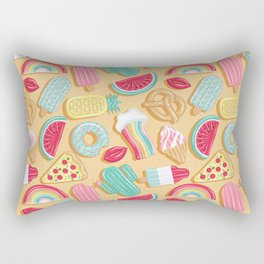 Epic pool floats top view // sand background Rectangular Pillow