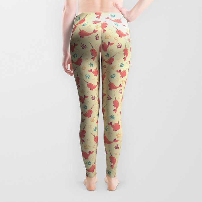 To the Window to the Narwhal - Coral & Cream Leggings