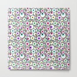 Candy Pastel Eyeball Pattern Metal Print