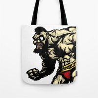 street fighter Tote Bags featuring Bear Wrestler - Street Fighter by Peter Forsman