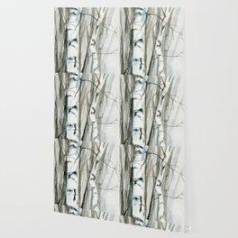 Winter Birch Trees Woodland Watercolor Original Art Print Wallpaper