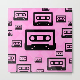 Pink & Black Cassette Tapes Metal Print