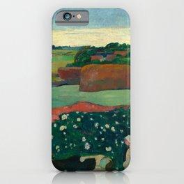 """Paul Gauguin """"Les meules ou Le Champ de pommes de terre or Haystacks in Brettany"""" iPhone Case"""