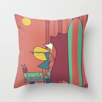 surf Throw Pillows featuring SURF by Ale Giorgini