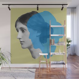 Virginia Woolf portrait green blue Wall Mural