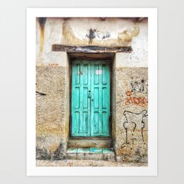 Door, Teal Wood (San Cristóbal de las Casas, Chiapas, Mexico) Art Print