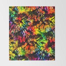 Vivid Psychedelic Hippy Tie Dye Throw Blanket