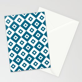 Diamond Check Pattern Peacock Blue Stationery Cards
