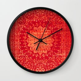 N69 - Oriental Heritage Vintage Orange Traditional Moroccan Farmhouse Style Artwork Wall Clock