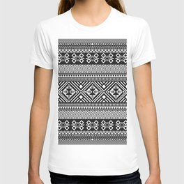 Monochrome Aztec inspired geometric pattern T-shirt