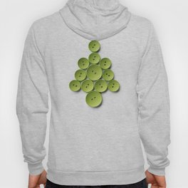 Christmas tree made with green buttons, isolated on white background Hoody
